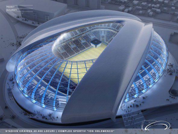El proyecto para el nuevo estadio Craiova propone un enfoque ecológico a través del uso de materiales y tecnologías que incorporan fuentes de energía verde, como células fotovoltaicas, calefacción y refrigeración geotérmica y fuentes de agua a partir de pozos profundos.