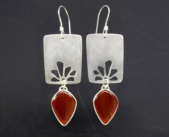 Sterling Silver and Banded Carnelian Earrings by ZLeslieJewelry