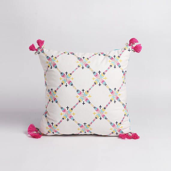 Embroidered pillow cover multicoloured handmade bohemian