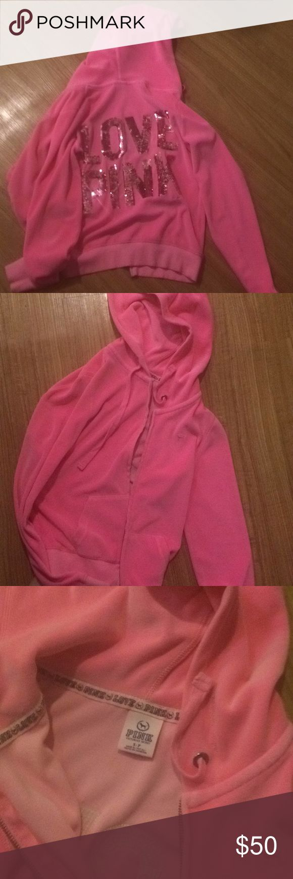 Like🆕Pink Victoria's Secret sweater💕 Like new wore only twice ,  smoke and pet free home. Pink sequins. Velvet love pink PINK Victoria's Secret Sweaters
