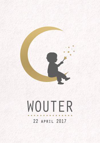 Geboortekaartje Wouter - Pimpelpluis - https://www.facebook.com/pages/Pimpelpluis/188675421305550?ref=hl (# jongen - maan - sterren - ster - toverstokje - toveren - vrolijk  - retro - vintage - silhouet - lief - origineel)