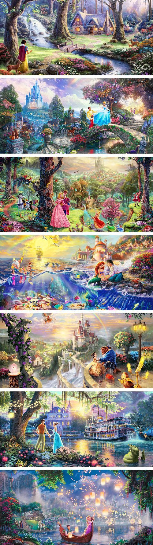 I absolutely LOVE the Tangled one! Thomas Kincaide. I live how they hide stuff in the paintings!
