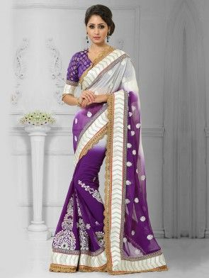 White and Purple Chiffon Saree with Embroidery Work