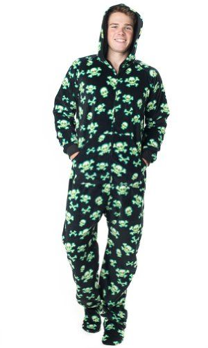Footed Pajamas offer the best Footed Pajamas Jolly Roger Adult Hoodie One Piece - Large. #pajamas #footed