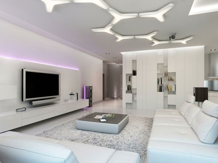 wohnzimmer einrichten ideen couchtisch minimalistisch weie mbel led beleuchtung - Tapeten Fr Wohnzimmer Mit Weien Hochglanz Mbeln