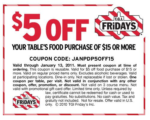 Fridays discount coupon