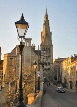 The beautiful town of Stamford in Lincolnshire, UK with the 13th century church of St Mary's