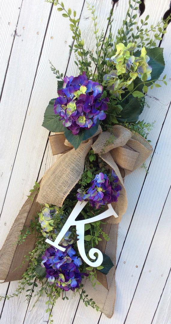 Monogram Swag Hydrangea Swag Hydrangea Wreath Double by Keleas