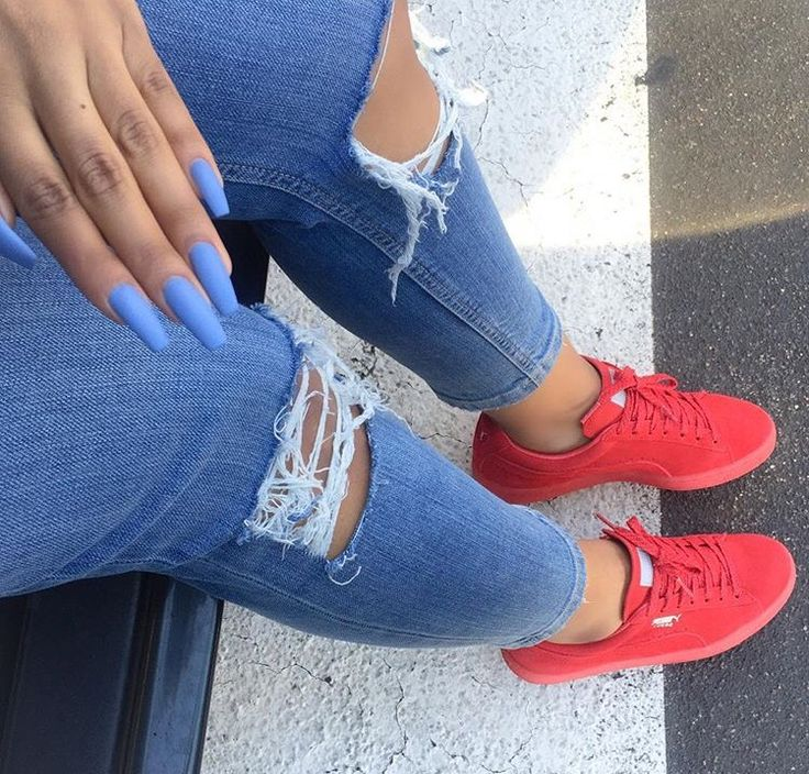 Red suede puma trainers