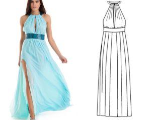 Греческое платье с кожаными вставками