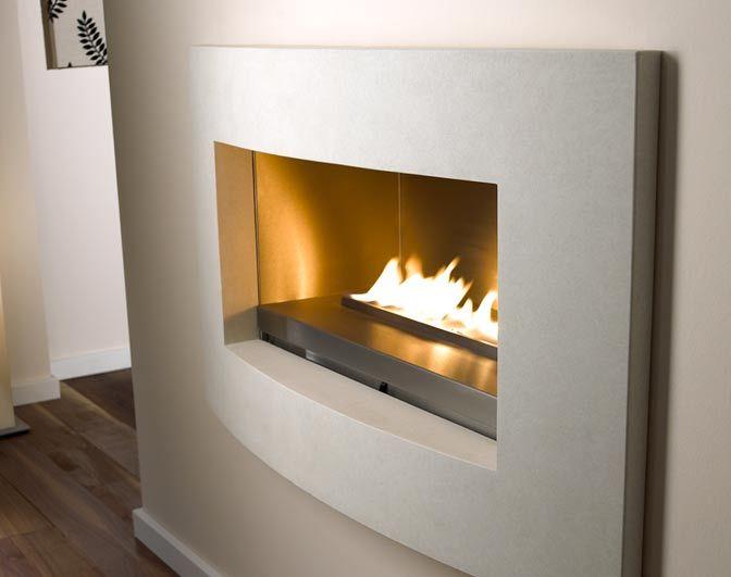 Smartscape - Simplistic contemporary gas fire, single strip of flames set in a limestone surround.