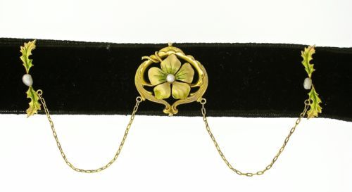 Art-Nouveau-14kt-Yellow-Gold-Pearl-Enameled-Choker-on-a-Black-Velvet-Ribbon