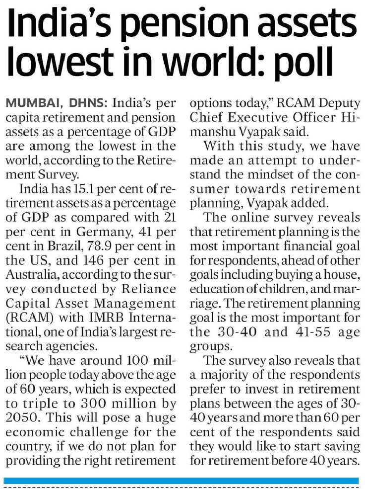 India's per capita retirement and pension assets as a percentage of GDP are among the lowest in the world, according to the Retirement Survey. for more click here https://www.reliancemutual.com/funds-performance/reliance-retirement-fund