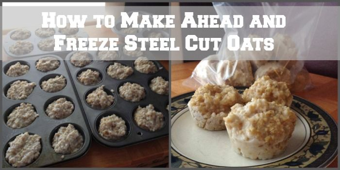 How to Make Ahead and Freeze Steel Cut Oats. I love steel cut oats. LOVE THEM. But they take about 45 minutes to prepare on the stove and who has time for that on busy mornings. Not me! In this post I show you how to make a large batch of steel cut oats and freeze them in portion controlled servings ahead of time for an easy healthy breakfast.   How to freeze oatmeal. Freezer meals. freezer cooking