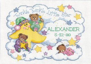 Amazon.com: Dimensions Needlecrafts Counted Cross Stitch, Twinkle Twinkle Birth Record: Arts, Crafts & Sewing