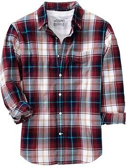Men's Plaid Slim-Fit Oxford Shirts   Old Navy - I can totaly girly this one up with some turquoise