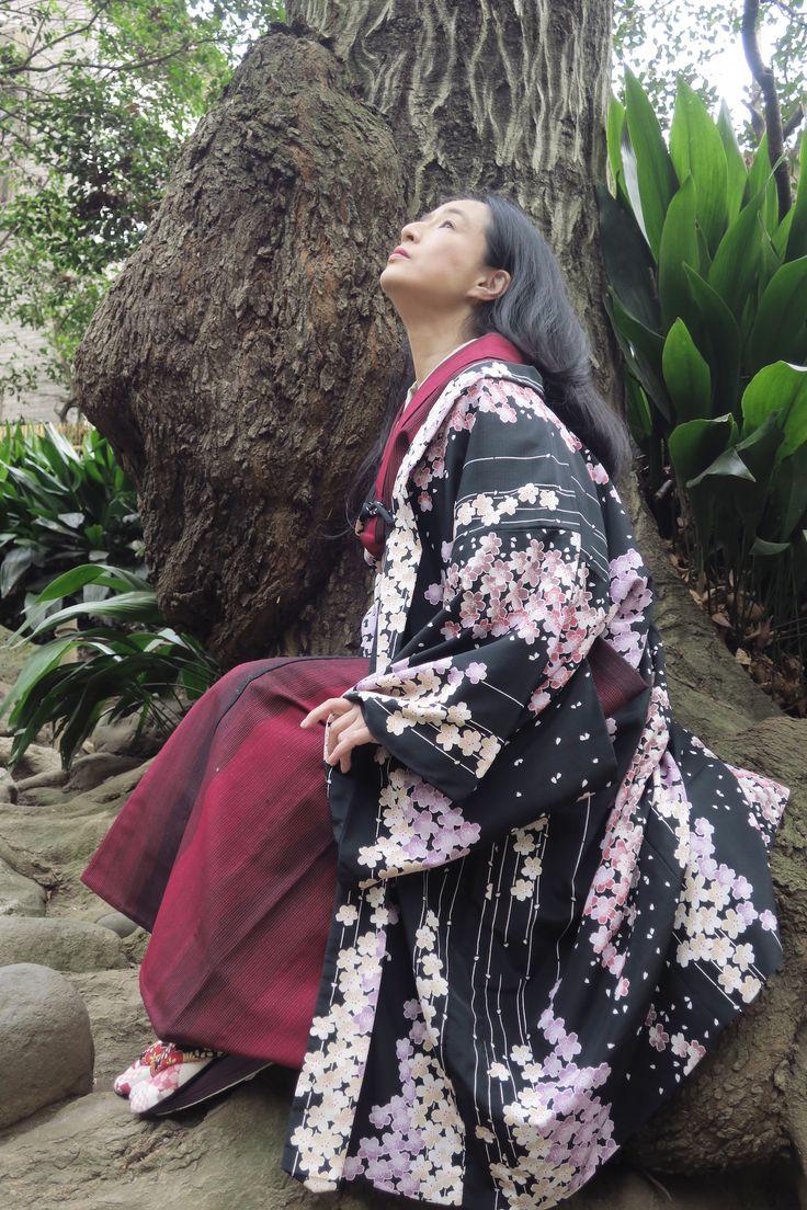 冬 赤ウール着物ポリ夜桜羽織 垂髪 着物に垂髪もありだと個人的に思う