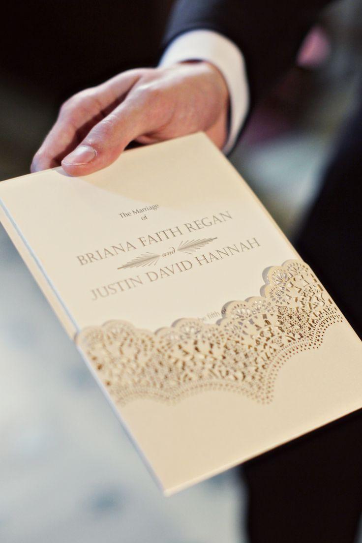matter for wedding invitation in gujarati%0A Cream Lace Program Booklets   Alison Conklin Photography   TheKnot com    Wedding  Invitation CardsWedding