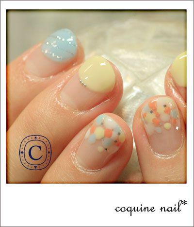 coquine nail* : パステルドットねいる。