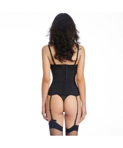 1e71713af80 Women s Bustier Corset Sexy Girdle Waist Cincher With Garter Belt - Black -  C012ISIFS1X