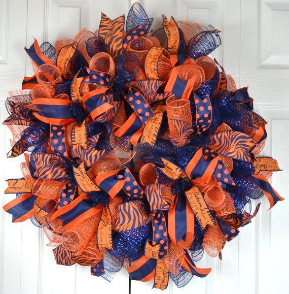 Auburn Deco Mesh Wreath War Eagle Sports by Gaslight Floral Design. http://GaslightFloralDesign.com