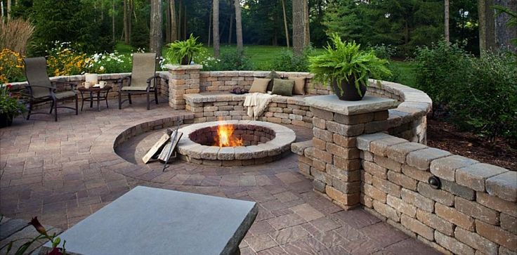 Urbana Pavers, Fire Pit, Weston Stone and Seating Wall by Belgard Hardscapes