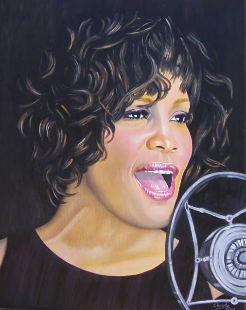 Whitney Houston Oil painting on canvas 40 x 50cm(Aug.2013) I will never forget her !!!! Christa art