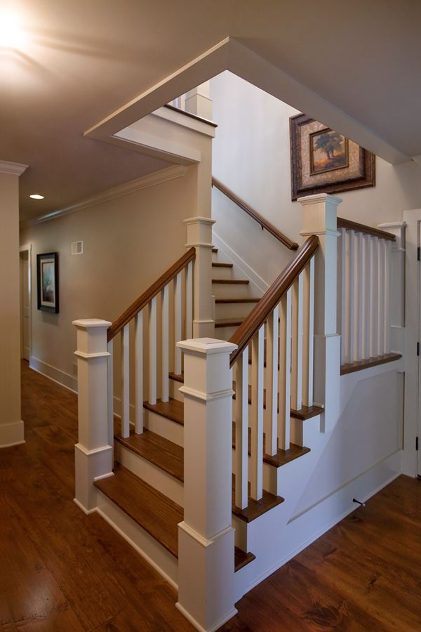 L shaped stair with painted balusters and risers and - Interior stair treads and risers ...