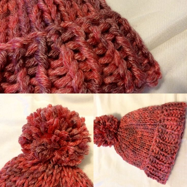 Ladies Pink Bobble Hat, Funky Women's Bobble Hat by CreationsAtSunset on Etsy
