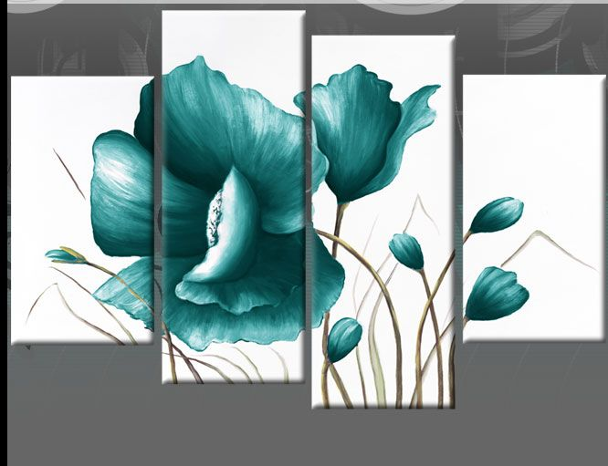 Large teal canvas pictures floral flower painting wall art for Paintings for bathroom decoration