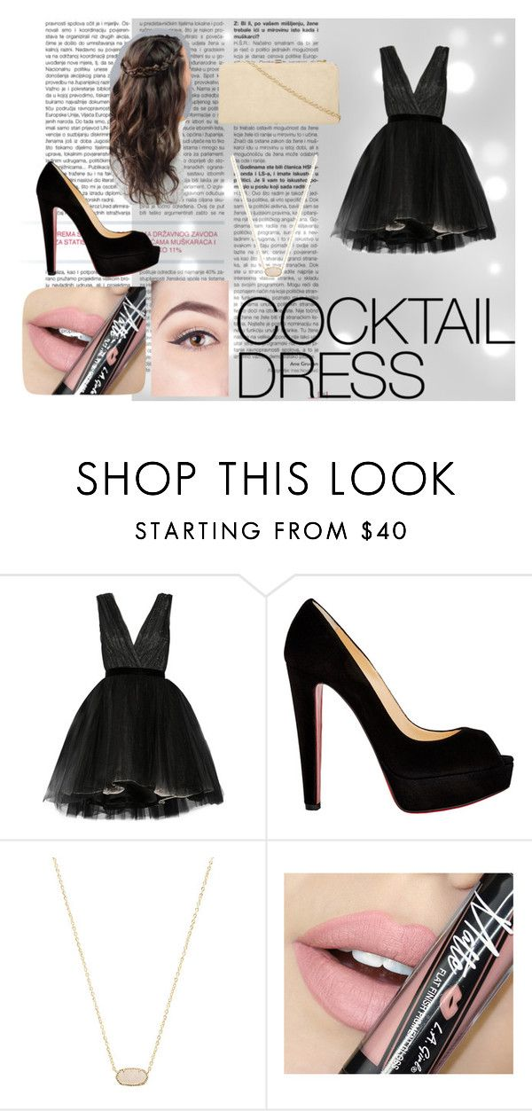 """""""Cocktail Dress"""" by lilyrose2000 on Polyvore featuring Alice + Olivia, Christian Louboutin, Kendra Scott, Fiebiger and Dorothy Perkins"""