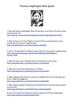 This is a webquest for Florence Nightingale. Click on the various links to take you to different activities...