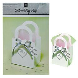 A340328 - Favor Kit - Heart Bag. 50 Bags, 50 Ribbons & 50 Tags Favor Kit - Heart Bag White (Contains 50 Bags, 50 Ribbons & 50 Tags) Create your own Elegant Bonbonniere!. Please note: approx. 14 day delivery