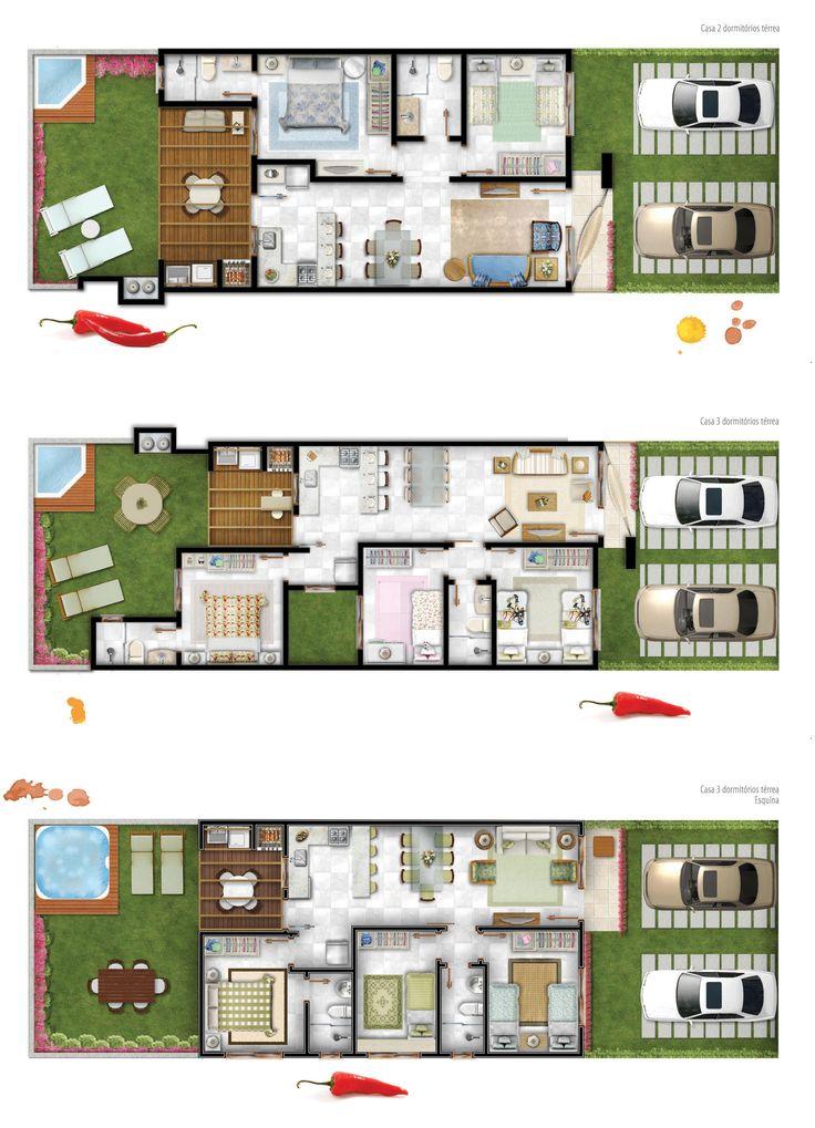 Planta de casas com 2 quartos em meio terreno for Casas minimalistas pequenas
