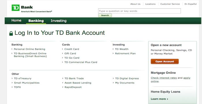 TD Bank Sign In