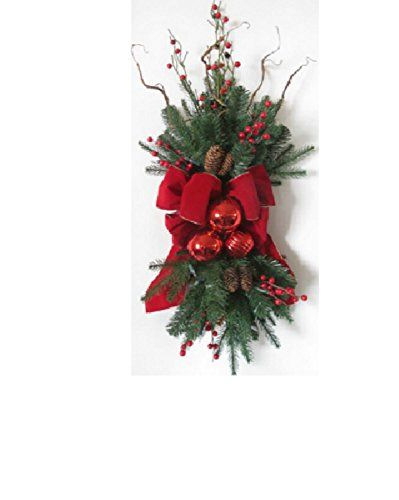 34 PreDecorated Red Ribbon Ornaments and Berries Artificial