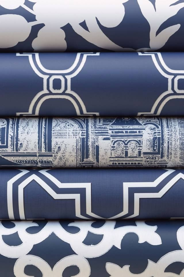 Navy rolls from Thibaut's Graphic Resource collection.