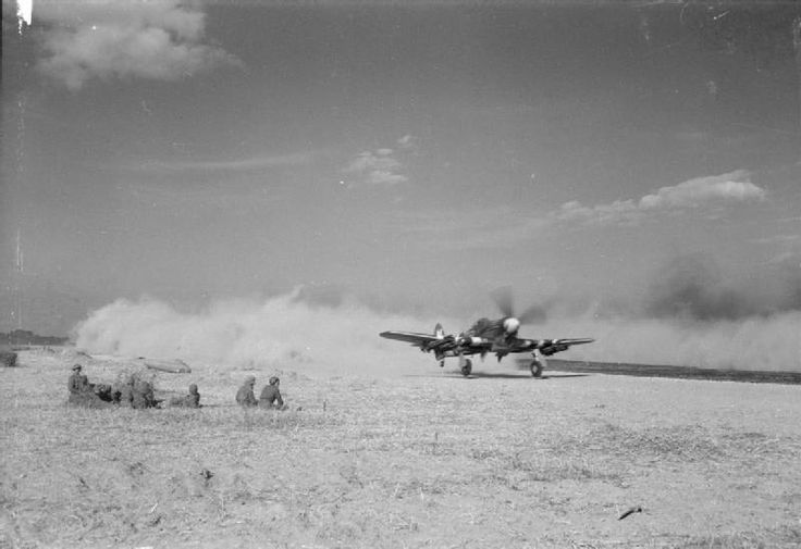 A Typhoon Mark IB of No. 184 Sqn RAF illustrates just how much dust could be raised as takes takes off from B2/Bazenville.