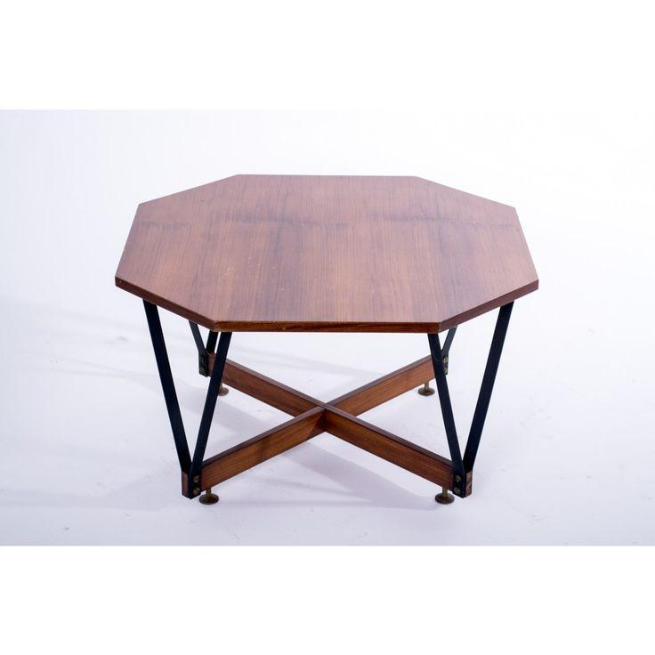 Tavolino ottagonale paese Italia anni 50 colore marrone in legno e metallo