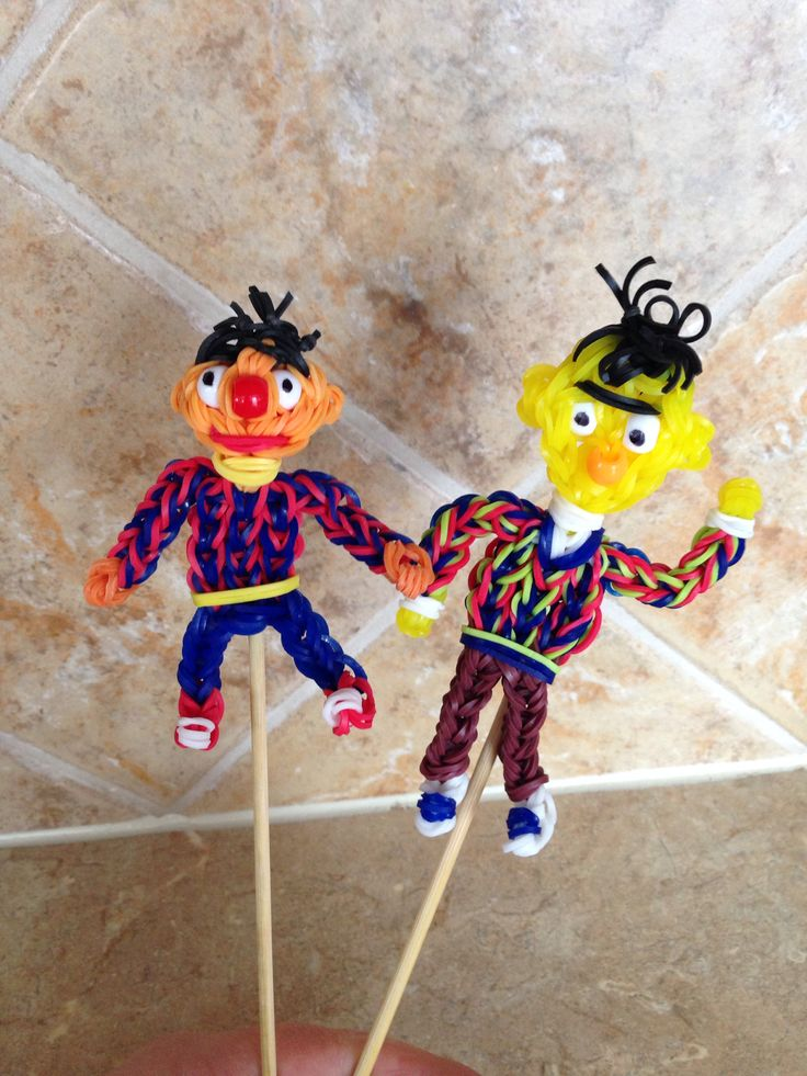 Rainbow loom Ernie and Bert charms figures. Ernie now on YouTube. designed and loomed by Cheryl Spinelli