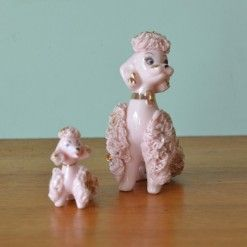 Vintage ceramic Spaghetti pink poodle and puppy