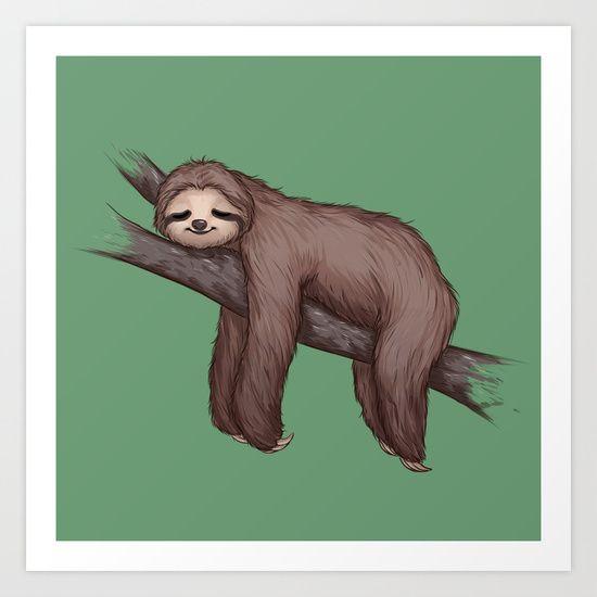 Sleepy Sloth Art Print by RibkaDory - $14.56