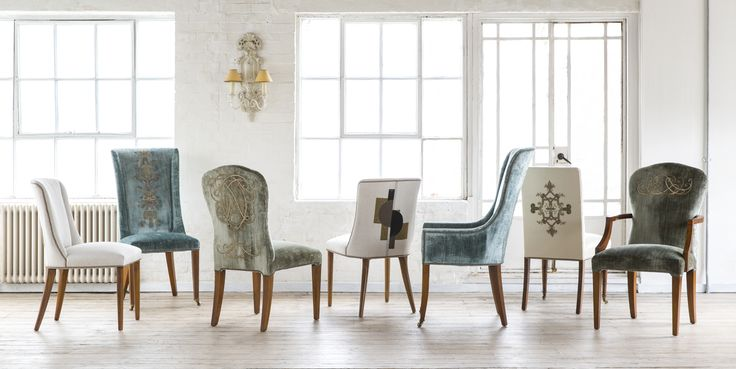 Dining chair collection from Beaumont & Fletcher. From left to right: Calypso, Kingsley, Blake, Calypso, Kingsley carver, Pavilion, Blake carver