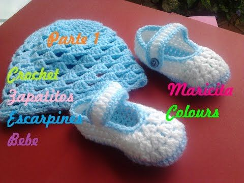 Crochet Tutorial Zapatitos Bebe Escarpines Celeste (Parte 1) - Ba...