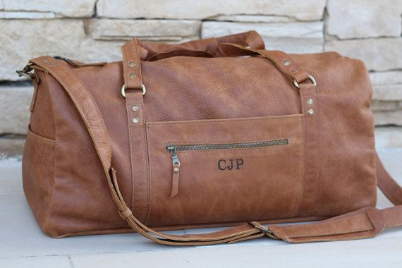 Monogrammed duffle bag,italian leather mens womens duffel bag with pockets,weekender bag,personalized bag,overnight bag,express shipping