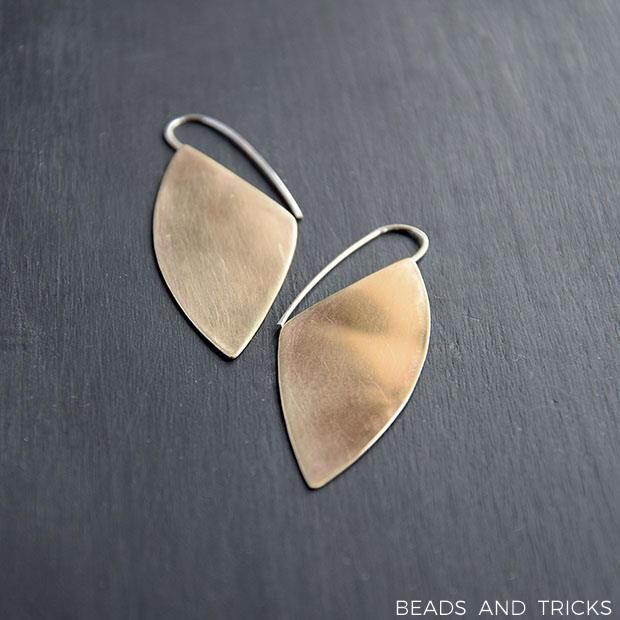 Red brass and sterling silver earrings | Beads and Tricks