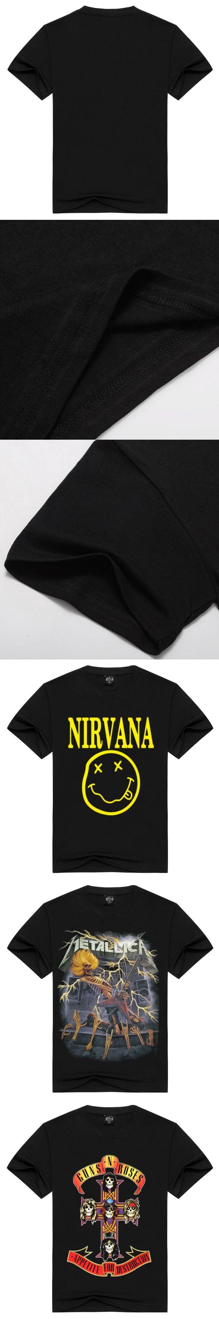 Tee Men Black T-Shirt 100% Cotton Metallica Skull Print Heavy Metal Rock Hip Hop Clothing Black short T shirts S M L XXL XXXL