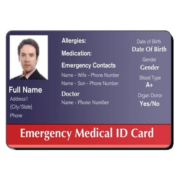 This is an image of Dashing Free Printable Medical Id Card