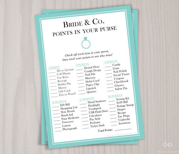 BRIDE & CO. POINTS IN YOUR PURSE GAME - Printable PDF (non-personalized) Need an easy game for everyone to play? This popular bridal shower game