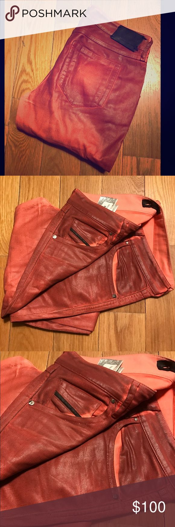 DIESEL WAXED DENIM Diesel Black Gold incredibly flash skinny mid low rise waxed coated and sophisticatedly treated. A fiery sunset orangey strawberry red. Sample sale purchase. I am an Diesel veteran. Only the Brave. Fits a size 28 Diesel Black Gold Jeans Skinny